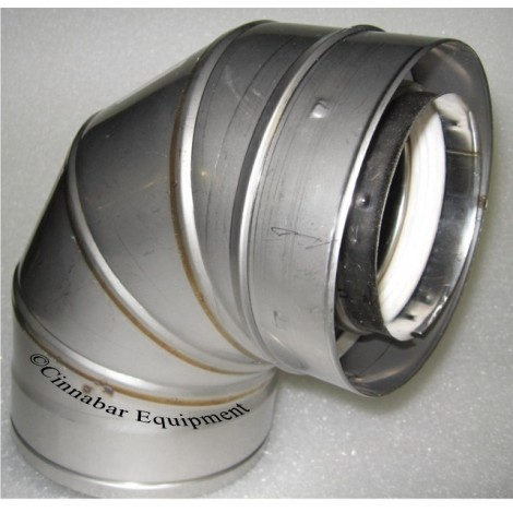 """6"""" X 90 deg Double Wall Stainless Steel Elbow"""
